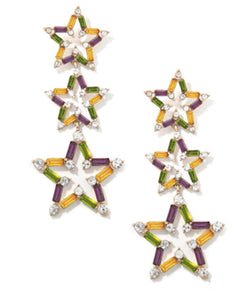 Mardi Gras Stars  Earrings- Multi