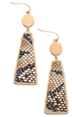 Snake Print Trapazoid Drop Earrings
