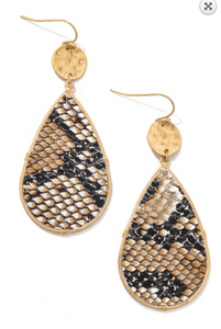 Snake Print Tear Drop Earrings