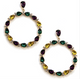 Mardi Gras Rhinestone Circle Earrings