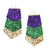 Mardi Gras Glitter Leather Earrings