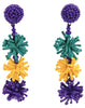 Mardi Gras Burst Bead Earrings