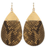 Snake Print Earrings - Brown