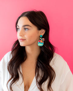 Tiki Drink Earrings - Blue