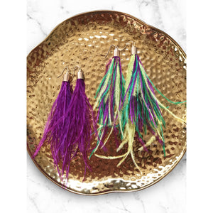 Mardi Gras Feather Earrings - Shop Golden Lily