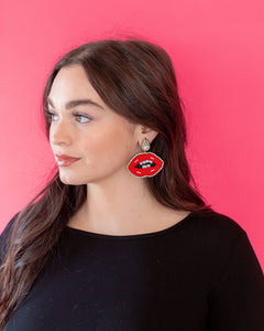 Kissy Lip Earrings - Red