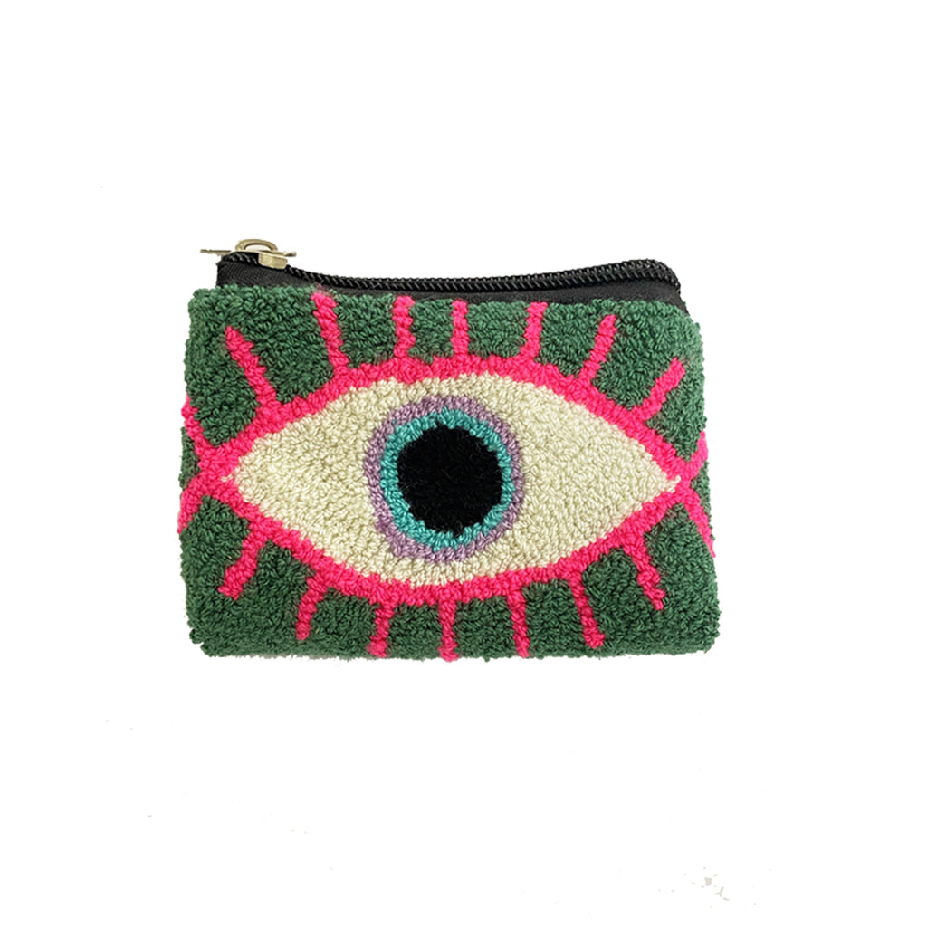 Green & White coin purse