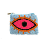 Baby Blue & Neon Pink coin purse