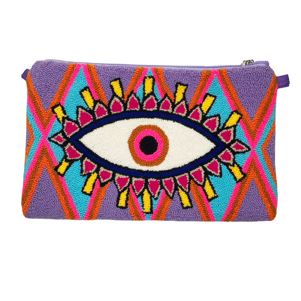 Pink & Purple Evil Eye Clutch