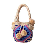 Blue & Beige Mini Bucket Bag