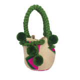 Beige & Rainbow Mini Bucket Bag
