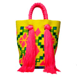 Yellow & Pink Tassel Bag