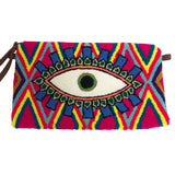 Pink & Blue Evil Eye Clutch