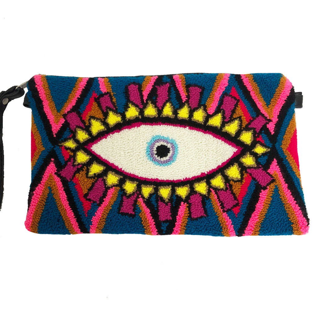 Blue & Pink Evil Eye Clutch