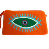 Large Eye Orange & Green Clutch