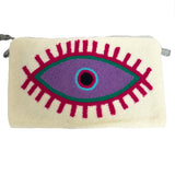 Large Eye White & Purple Clutch