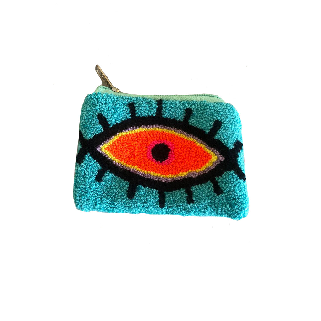 Turquoise & Orange coin purse