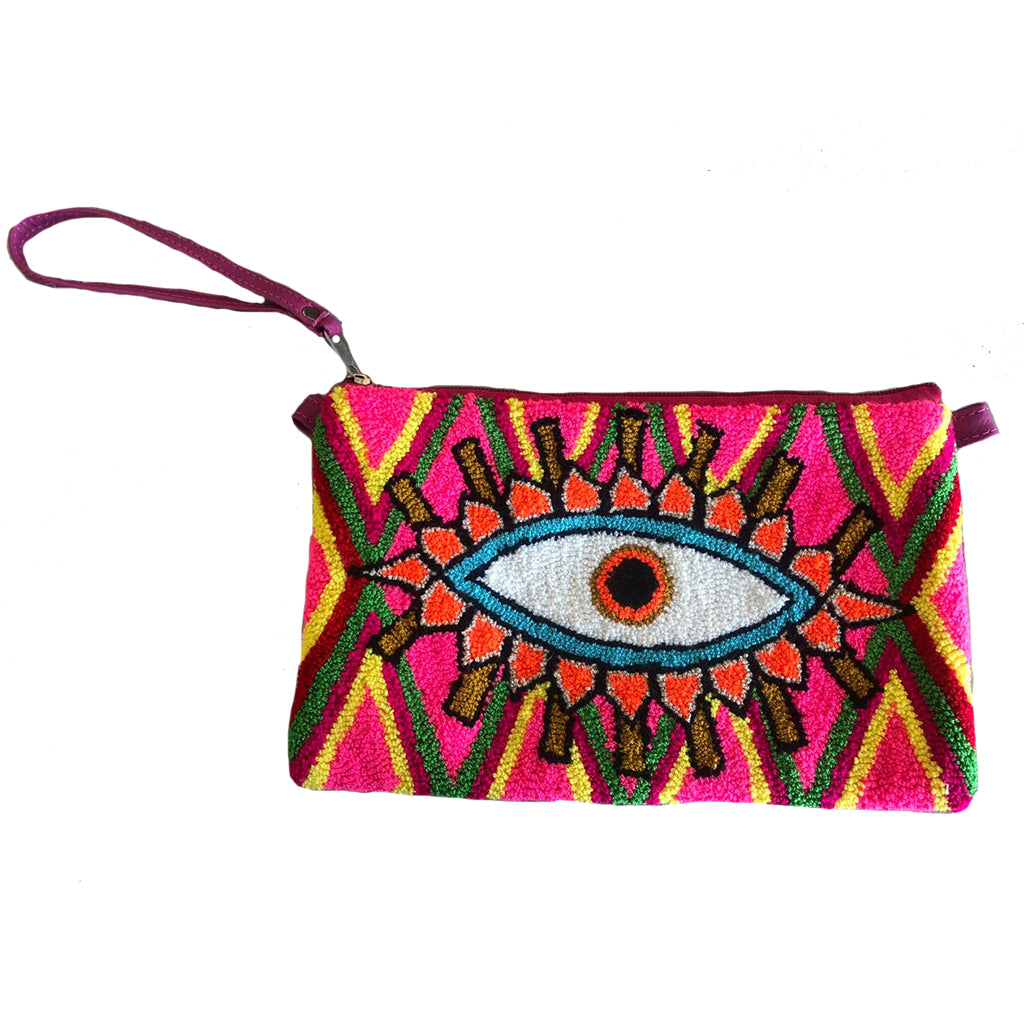 Neon Pink & White Evil Eye Clutch