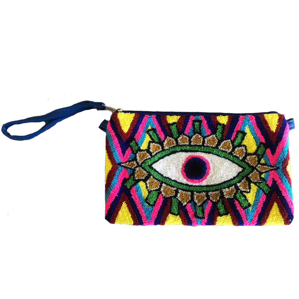 Yellow & Pink Evil Eye Clutch