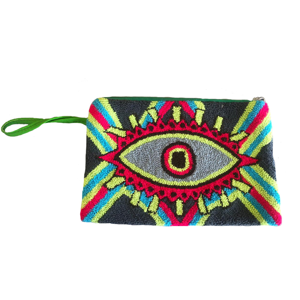 Green & Grey Evil Eye Clutch