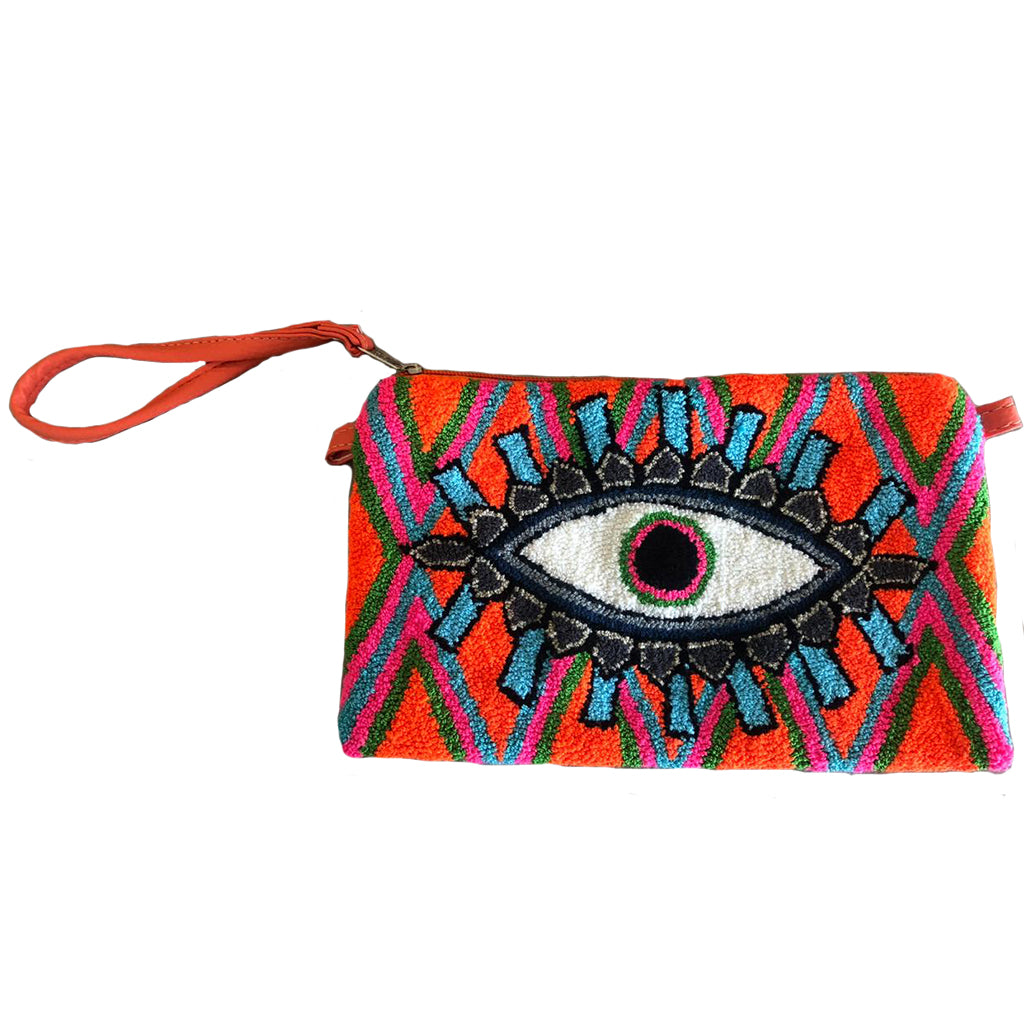 Bright Orange & Blue Evil Eye Clutch