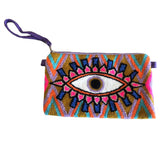 Lilac & Brown Evil Eye Clutch
