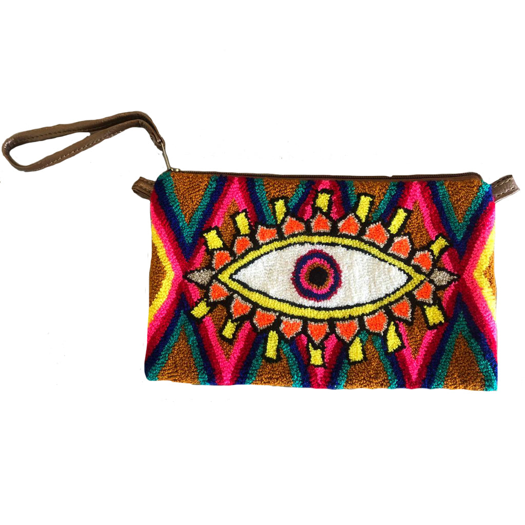 Brown & Orange Evil Eye Clutch
