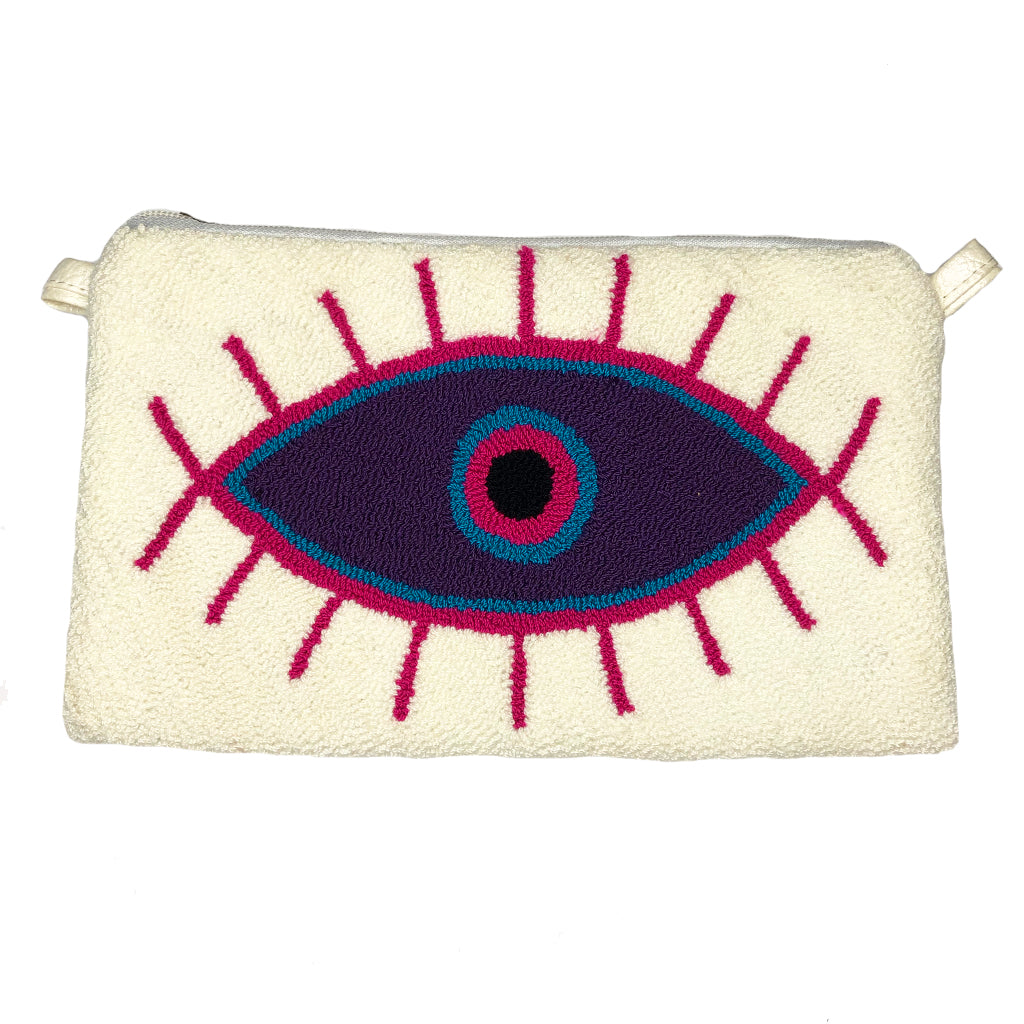 White & Purple Large Eye Clutch