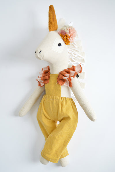 Wonder-Filled Unicorn // Mustard Romper - DaintyCheeks