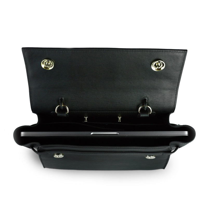Top view of opened black leather bag with slim laptop inserted in the middle, two metal fasteners on either sides of the opened flap.
