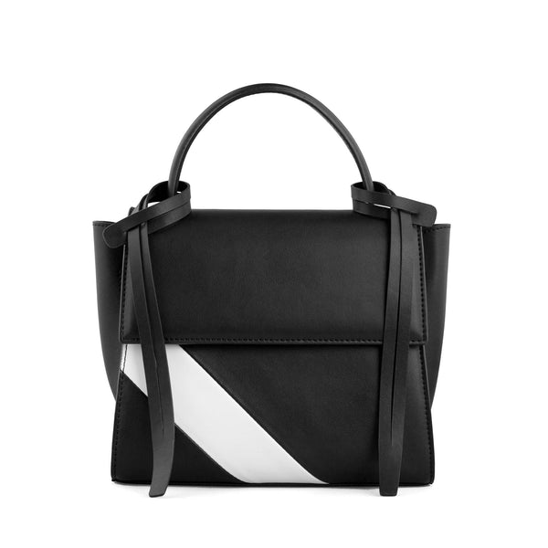 Rectangle genuine black and white leather work bag and handbag with black leather tassels, front flap and handle.