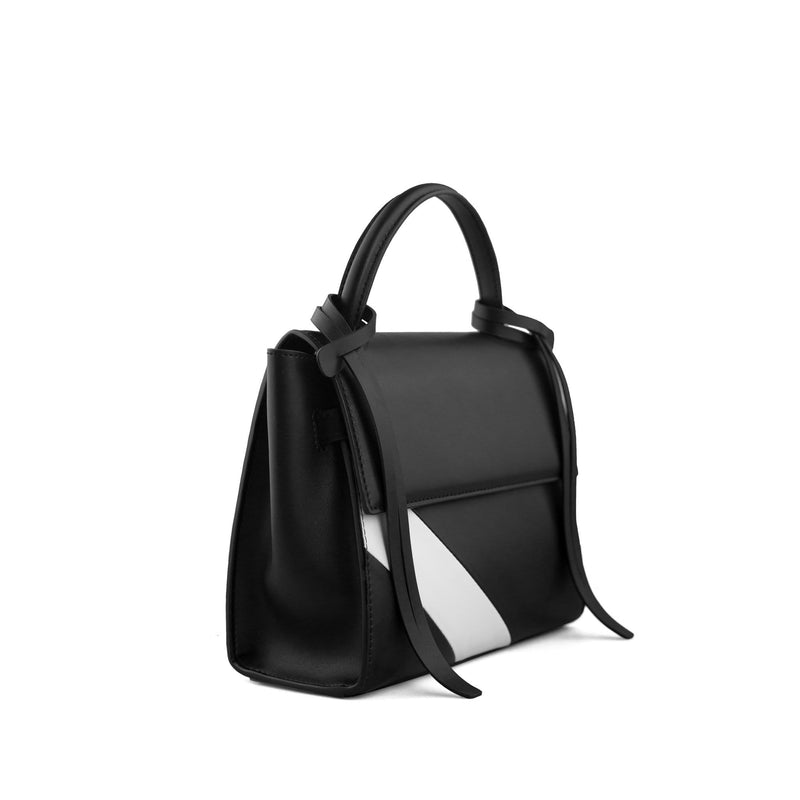 X NIHILO Bank mini in black and white stripe leather bag, fashion bag with detachable and adjustable strap, and one hooded magnetic clasps closure, luxury cow nappa leather handbag, genuine leather bag