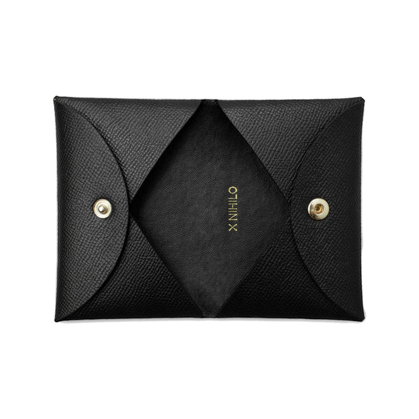 X NIHILO Carla cardholder in black textured cow leather, classy soft gold hardware, comes with gift box, small leather goods accessories