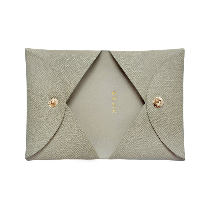 X NIHILO Carla cardholder in soft truffle/grey textured cow leather, classy soft gold hardware, comes with gift box, small leather goods accessories