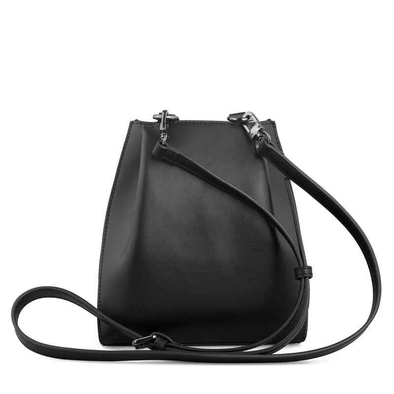 X NIHILO Chaser mini bucket bag in black and white stripe cow nappa leather, fashion bag with gunmetal hardware, detachable and adjustable strap, two press-stud on sides of the top opening, and high shine gunmetal hardware, luxury cow nappa leather handbag, genuine leather bag