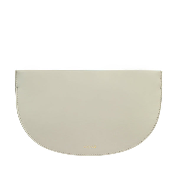 X NIHILO Debby in taupe clutch, fashion clutch with soft gold zipper top closure, luxury taupe nappa leather handbag, genuine leather clutch