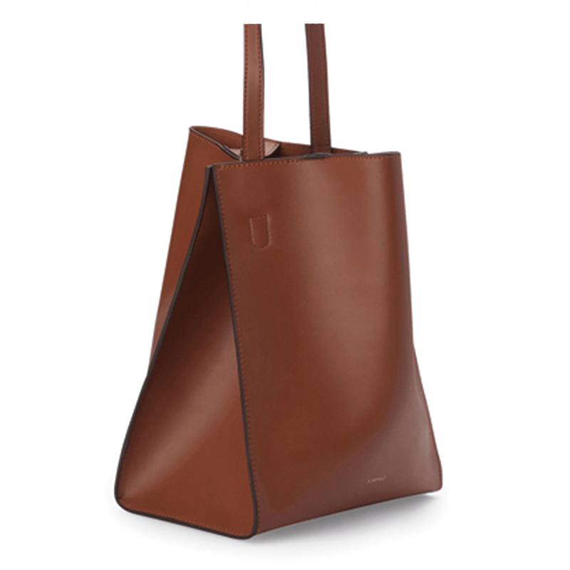 X NIHILO Milford bucket bag in tan napa leather, fashion bag with soft gold hardware and two snap button top closure, luxury tan cow nappa leather handbag, genuine leather bag