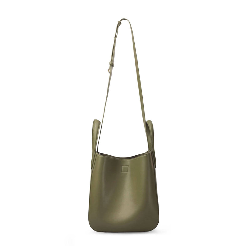 X NIHILO Eight mini in khaki bag, fashion bag with adjustable shoulder strap, single snap button top closure, and soft gold hardware, luxury cow nappa leather handbag, genuine leather bag