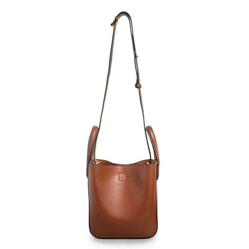 X NIHILO Eight mini in tan bag, fashion bag with adjustable shoulder strap, single snap button top closure, and soft gold hardware, luxury tan cow nappa leather handbag, genuine leather bag