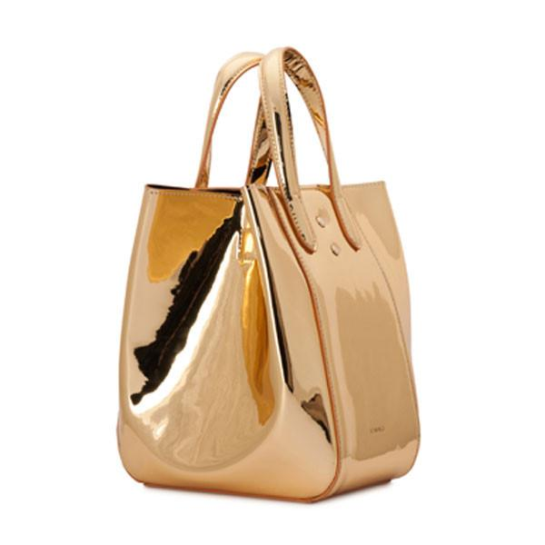 X NIHILO Eight in metallic gold vegan leather, fashion bag with adjustable shoulder strap, single snap button top closure, and gold hardware, PETA approved, gold mirror vegan leather bag