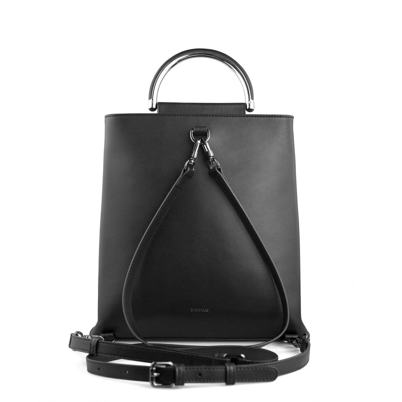X NIHILO Hunter in black and white stripe backpack bag, fashion bag with high shine gunmetal hardware, detachable and adjustable strap, two hidden magnetic clasps closure for front compartment, pockets fitted inside, and zip closure for back compartment, luxury cow nappa leather handbag, genuine leather bag