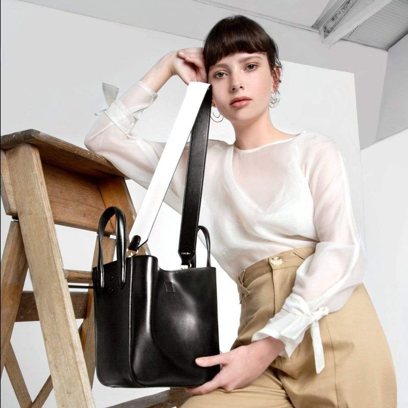 X NIHILO shoulder strap in black and white, fashion bag strap with soft gold hardware, luxury black and white cow nappa leather handbag strap, genuine leather strap 92.5cm in length