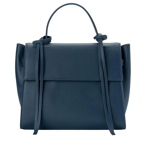 Rectangle genuine navy blue leather work bag and handbag with leather tassels, front flap and handle.