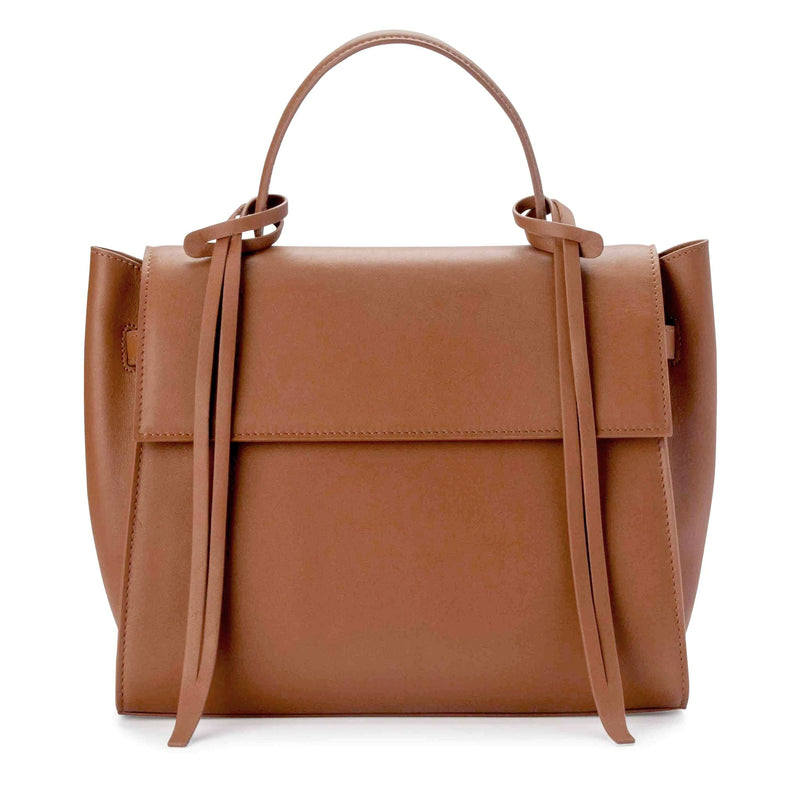 Front view of rectangle genuine tan leather work bag and handbag with leather tassels, front flap and handle.