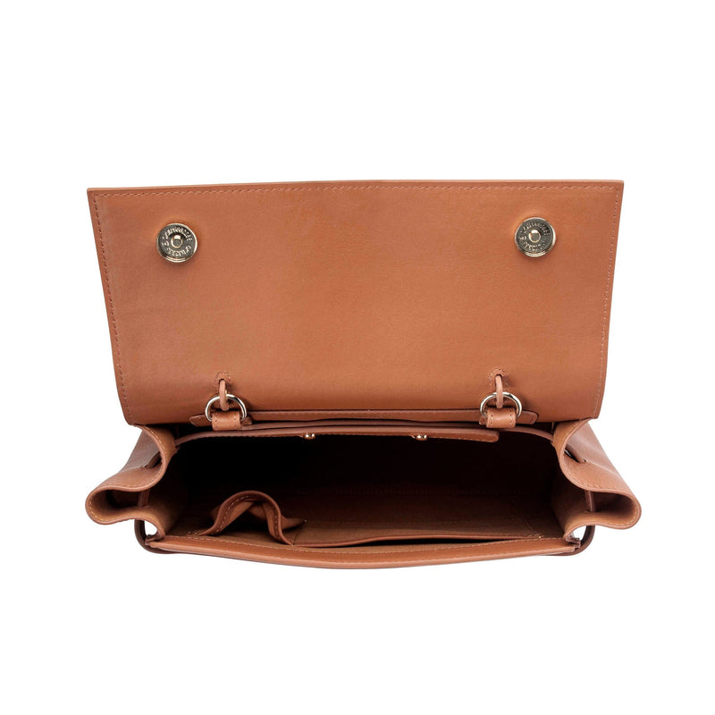 Top view of opened genuine tan leather work bag and handbag with two gold clasps on either sides.