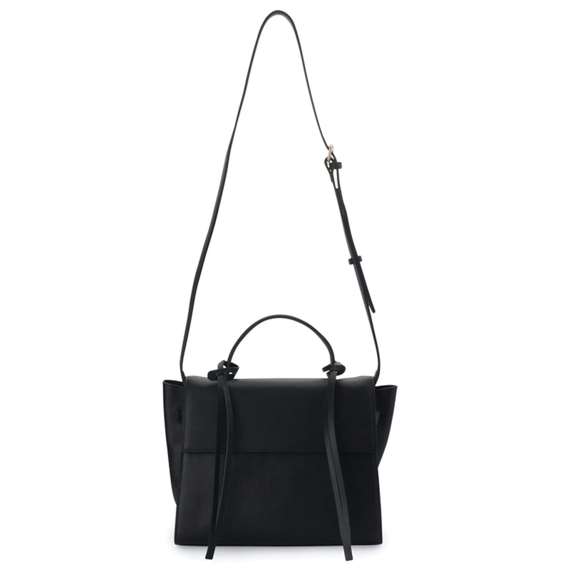 Rectangle genuine black leather work bag and handbag with leather tassels, front flap and handle, its bag strap extended upward.