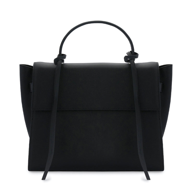 Rectangle genuine black leather work bag and handbag with leather tassels, front flap and handle