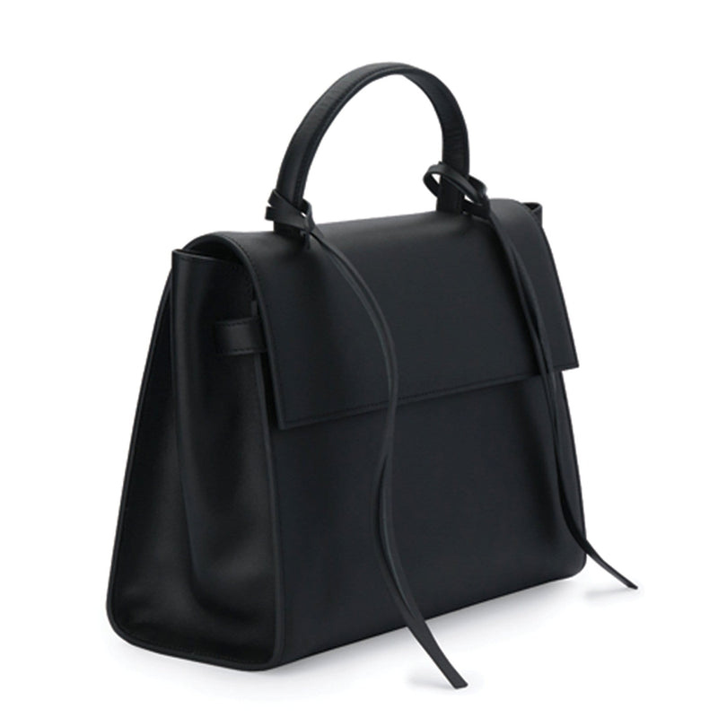 Angled side view of rectangle genuine black leather work bag and handbag with leather tassels, front flap and handle