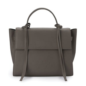 X NIHILO Bank in grey bag, fashion bag with detachable and adjustable strap, and one hooded magnetic clasps closure, luxury cow nappa leather handbag, genuine leather bag