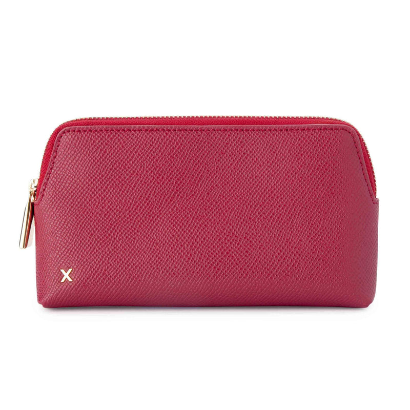 X NIHILO Catherine pouch in soft red wine color textured cow leather, soft gold hardware, stainless steel metal zip, small leather goods accessories, makeup bag